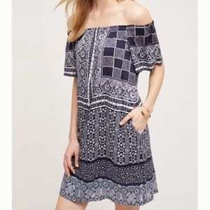 Anthropologie Blue Printed Off The Shoulder Dress